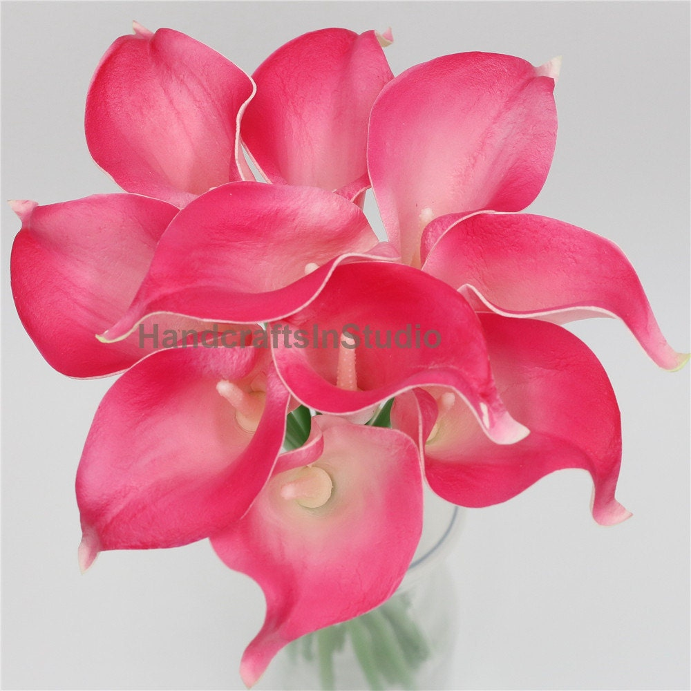 Wedding Bouquet Flowers Fuchsia Calla Lilies Fake Real Touch Etsy