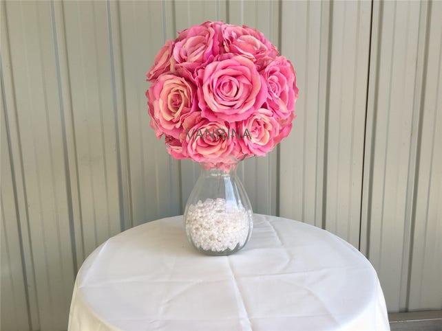 Lavender Flower Ball Silk Rose Ball For Wedding Centerpieces Light
