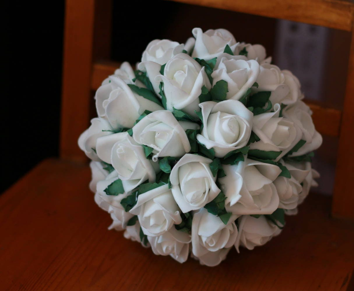 White Rose Ball Foam Flower Balls Artificial Kissing Ball Etsy