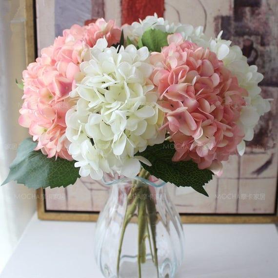 Hydrangea Flower: Light Pink Flowers Artificial Silk Hydrangea 10 Flowers