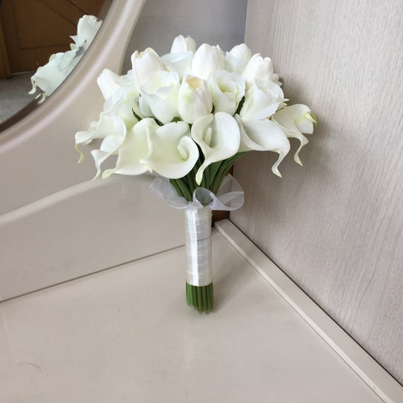 White Bridal Bouquet White Calla Lilly Bouquet Silk Rose Etsy