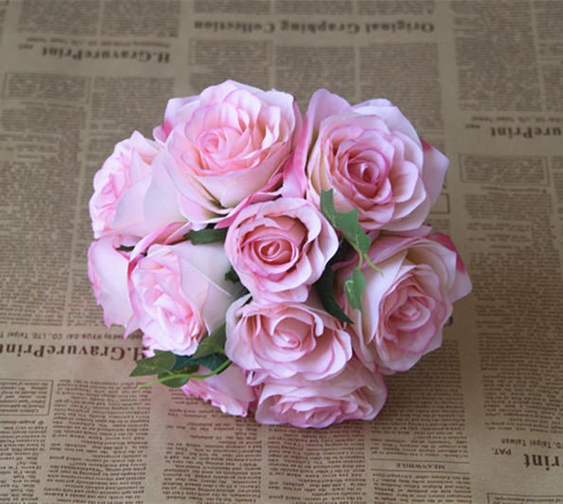 Pink Flower Bouquet Silk Rose Flower Bouquet Baby Pink Bridesmaids Bouquet Artificial Flower Bouquets Silk Roses ZHHSZ10-04