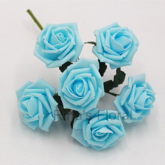 Greatest Baby Blue Artificial Flowers Foam Roses Light Blue Flowers For XJ46