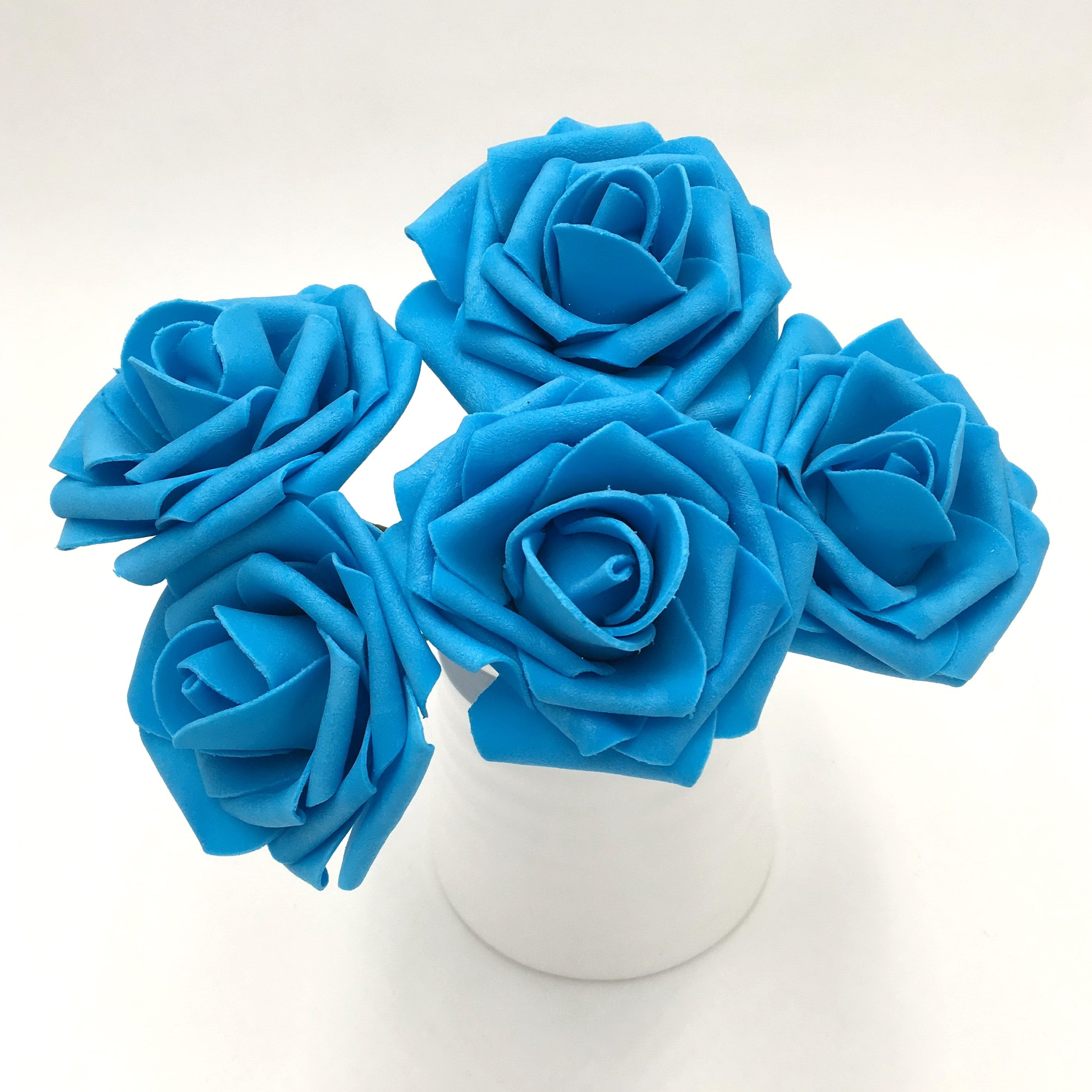 Turquoise Blue Roses Artificial Wedding Flowers 8cm Fake Roses Etsy