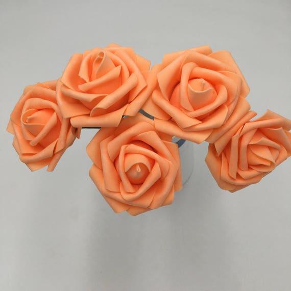 Licht Orange Hochzeit Blumen Kunstliche Schaum Rosen Orange Etsy