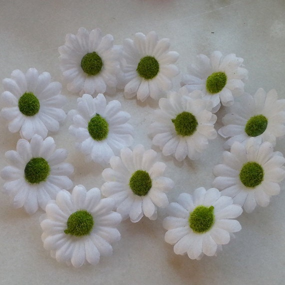 White gerbera daisy flower heads 4cm silk daisy mini flowers etsy image 0 mightylinksfo