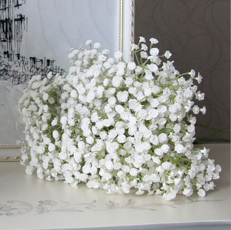 White Babys Breath Fake Gypsophila Flowers Faux Babysbreath image 0