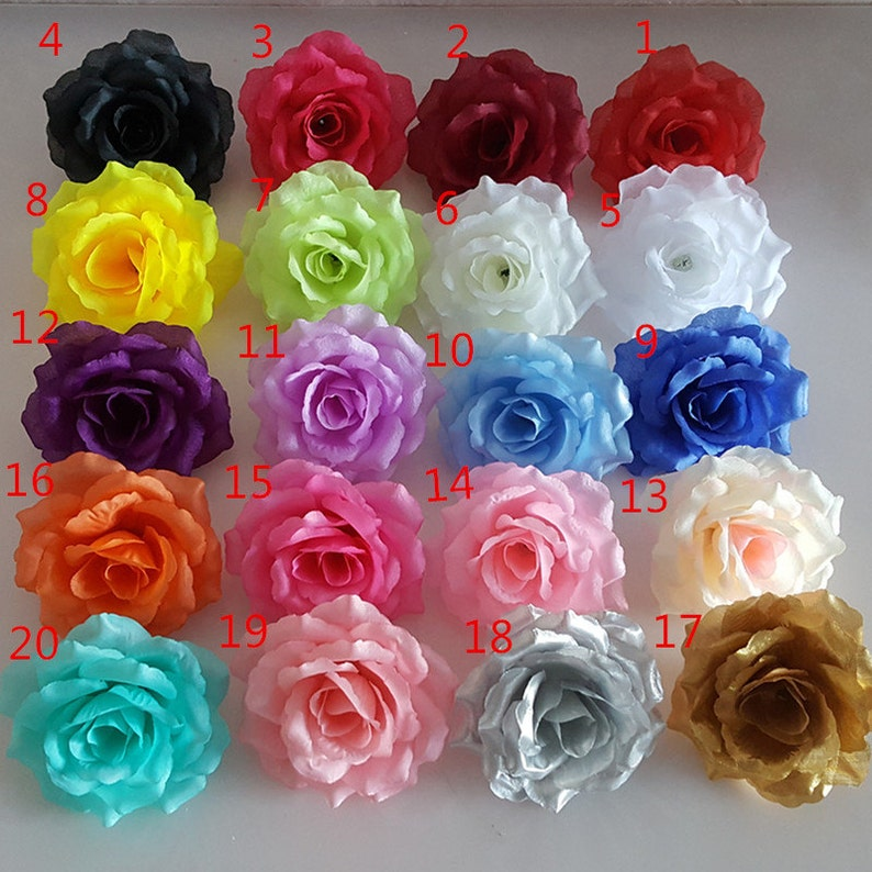 Silk Flower Heads Artificial Roses Heads Bulk Wholesale For Etsy