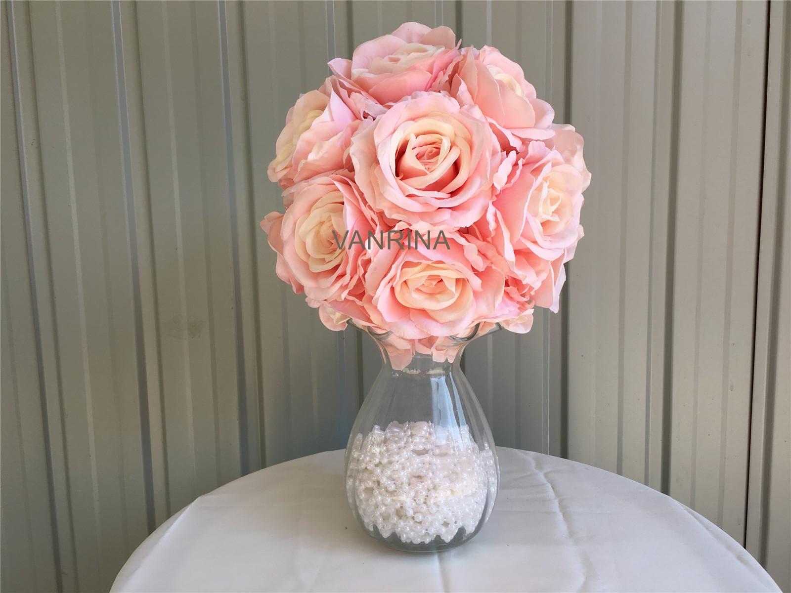 Silk Flower Ball Light Pink Rose Ball For Wedding Centerpieces | Etsy
