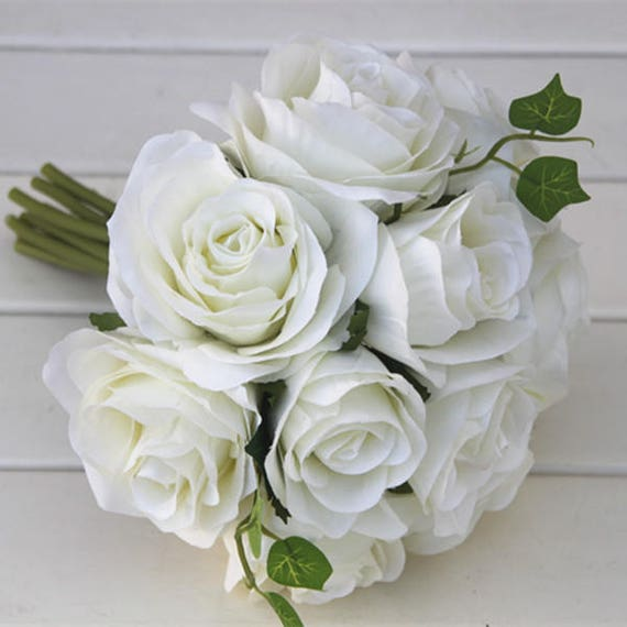 White Flower Bouquet Silk Rose Flower Bouquet Cream White Etsy