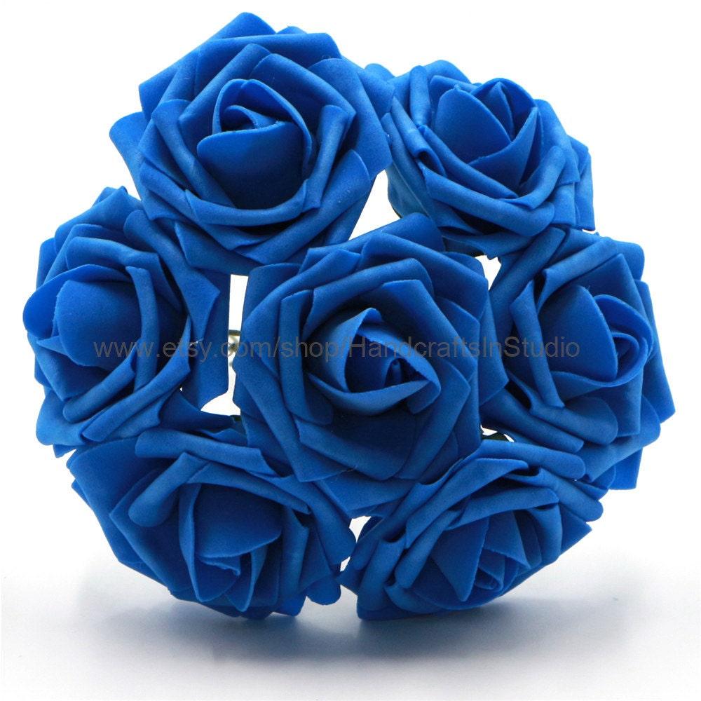 Royal Blue Roses Artificial Flowers Dark Blue Wedding Etsy
