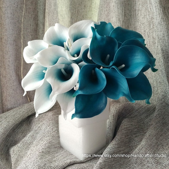 Vanrina Oasis Teal Wedding Flowers Teal Blue Calla Lilies 10 Etsy