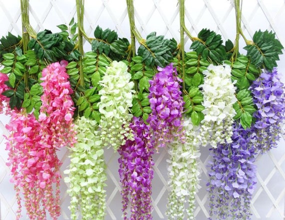 Wedding Arch Flowers Artificial Fake Wisteria Vine Rattan 12 Etsy