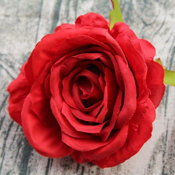 10 Red Rose Heads Wholesale Silk Flower Heads Craft Diy 12 Cm Etsy