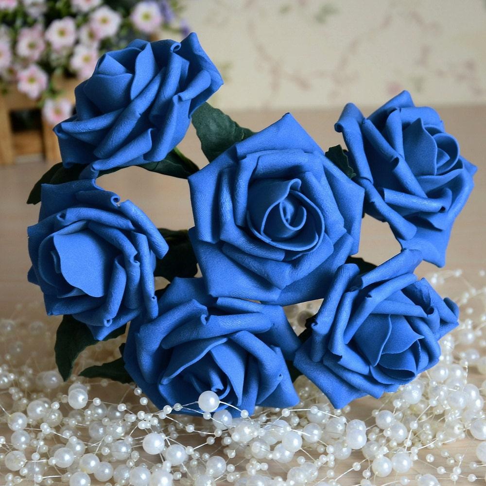 Blue roses wedding flowers royal blue roses artificial roam etsy blue roses wedding flowers royal blue roses artificial roam flowers for wedding bouquets table centerpiece decor 72 pcs lz yp72 17 izmirmasajfo