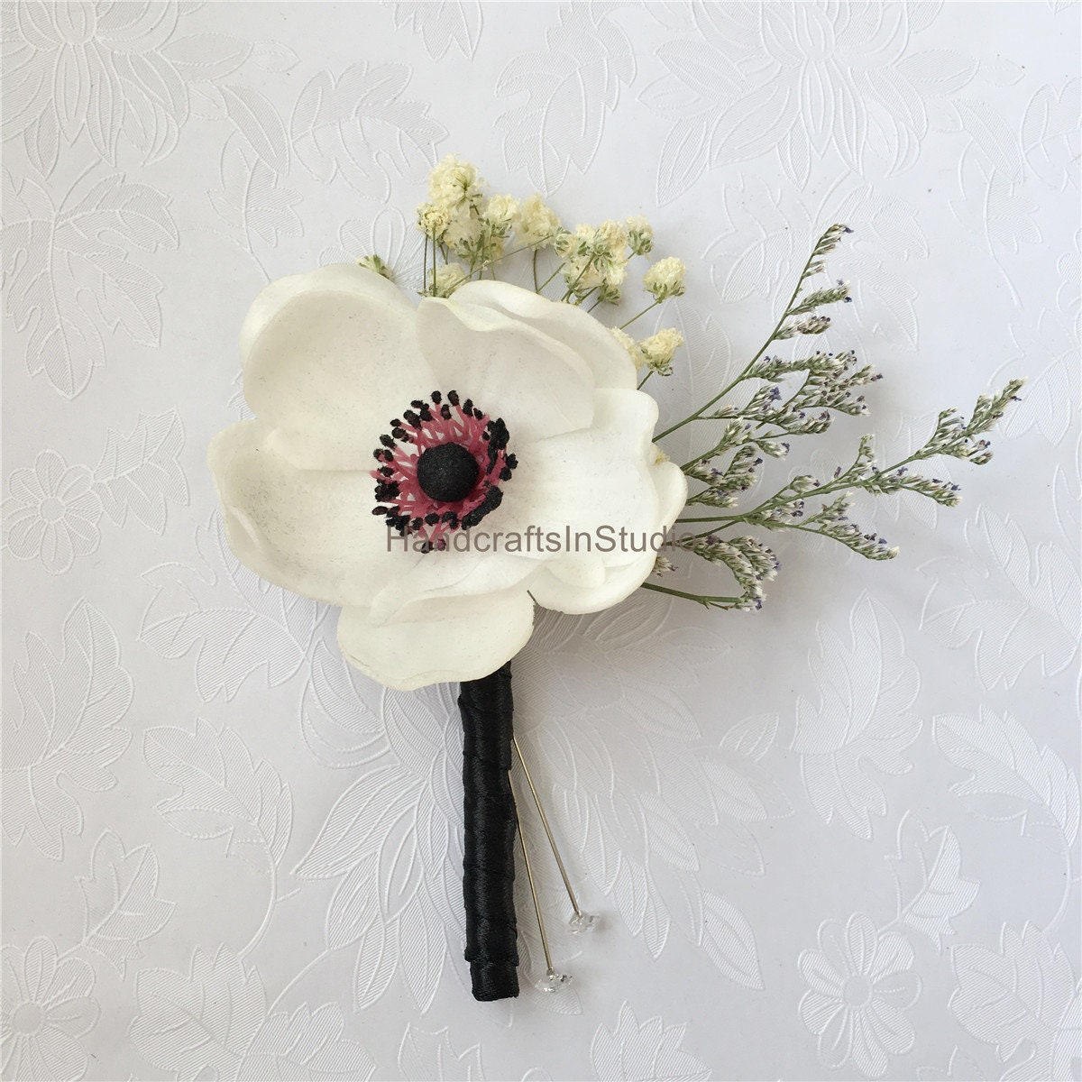 Boutonniere White Flower Grooms Boutonniere Pin White Etsy