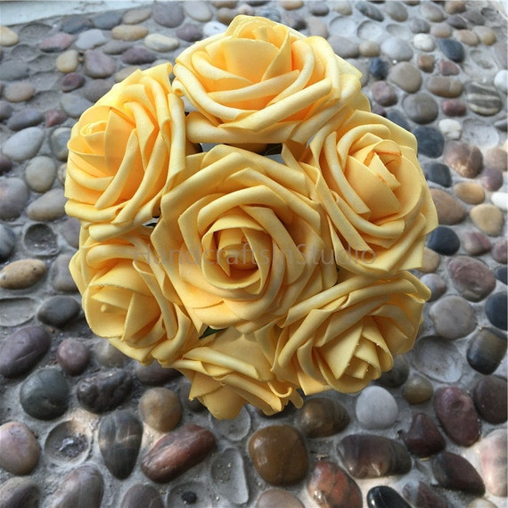 Canary yellow flowers roses 100 stems for bridal bouquets etsy image 0 mightylinksfo