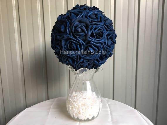 Navy Blue Wedding Centerpieces Flower Kissing Ball Dark Blue   Etsy