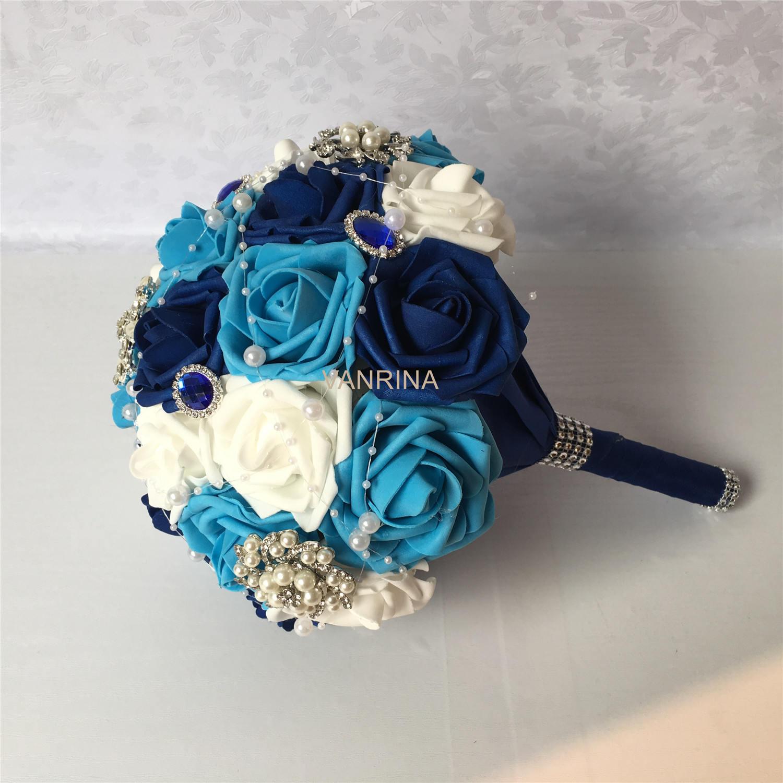 Blue Wedding Bouquet Royal Blue Turquoise Blue Bridal Etsy
