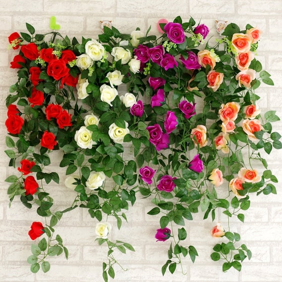 Artificial Rose Garland Fake Silk Flower Vine 2 Bunches Leaf Etsy