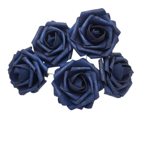Navy Blue Wedding Flowers Artificial Rose Flowers Deep Blue Etsy