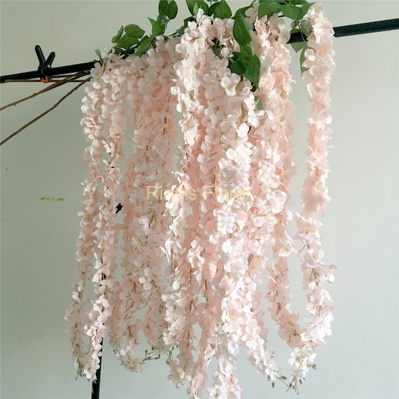Light Pink Wisteria Artificial Silk Flowers 5 Stems Hanging Etsy
