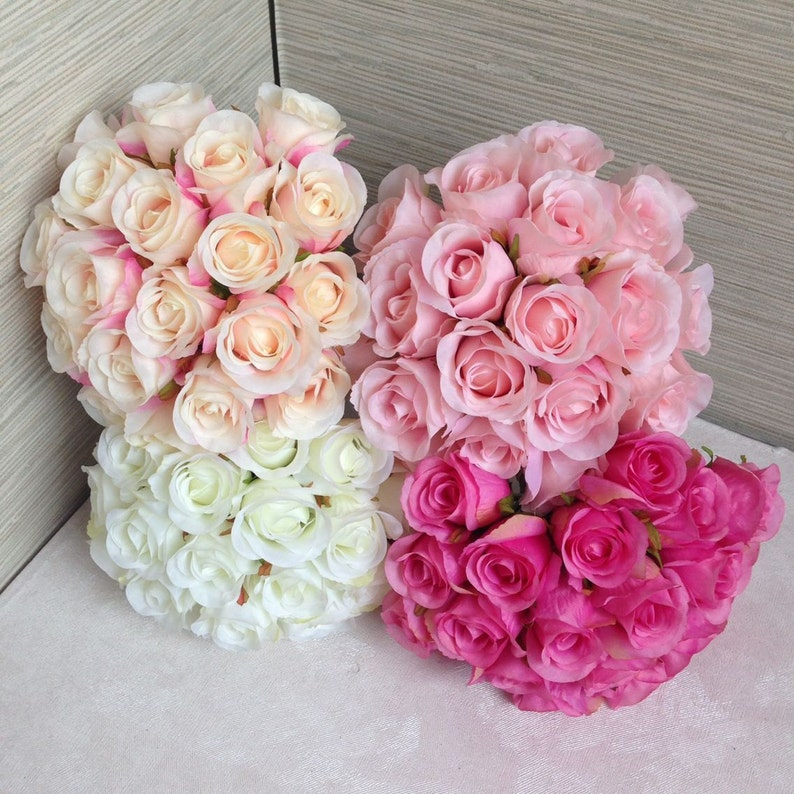 Silk Rose Bouquet Artificial Silk Flower Bunches for Flower image 0