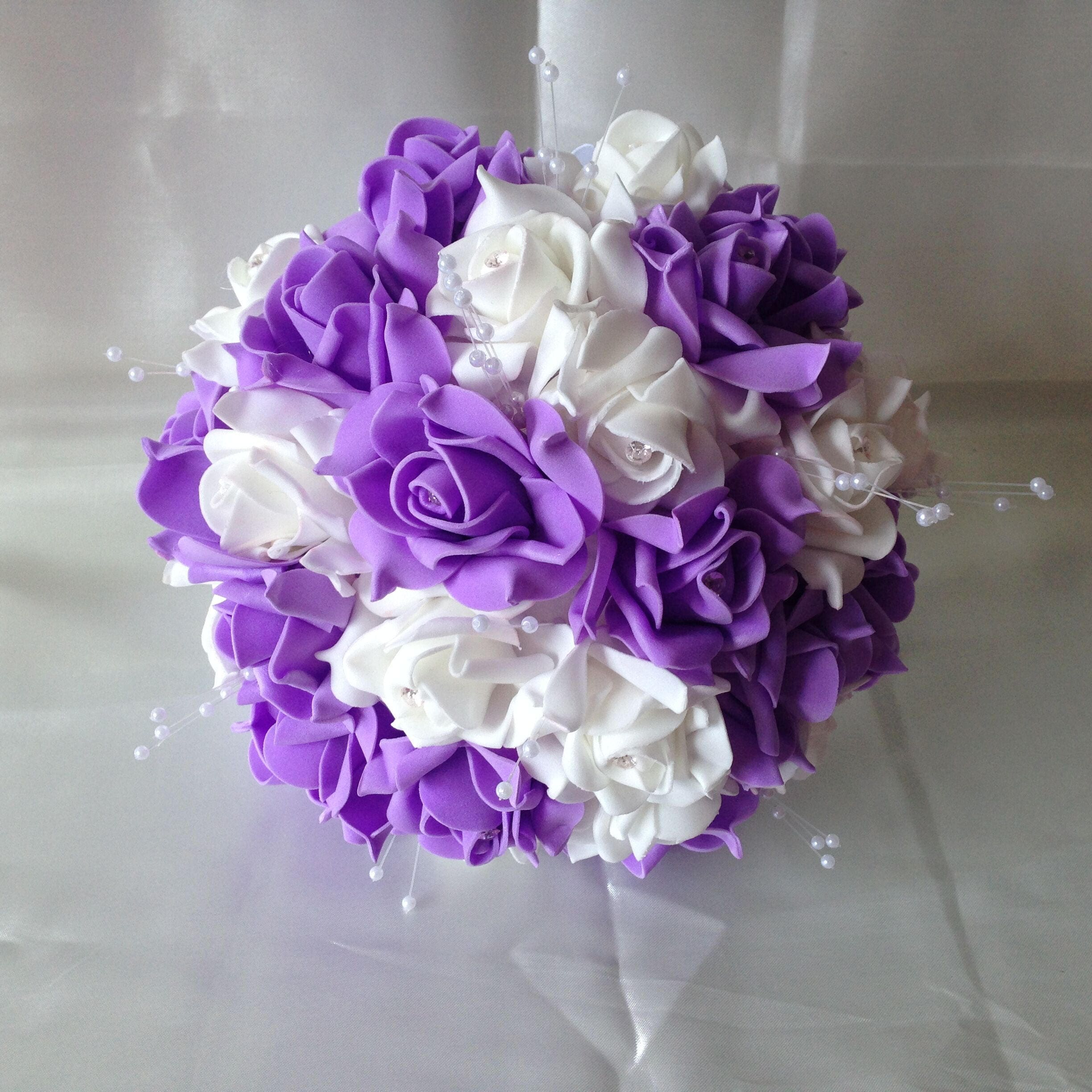 Lavender Wedding Bouquet White Rose Bouquet Artificial Etsy