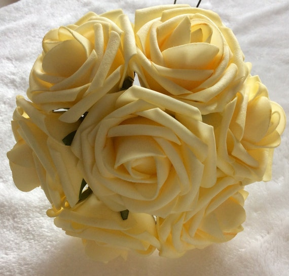 100 pcs light yellow canary flowers for wedding fake foam etsy image 0 mightylinksfo