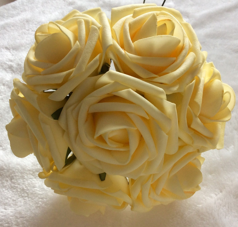 100 Pcs Light Yellow Canary Flowers For Wedding Fake Foam Etsy