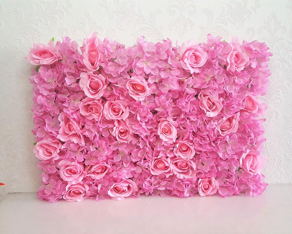 Pink Flower Wall Backdrops Pink Silk Rose Hydrangea Peony Etsy