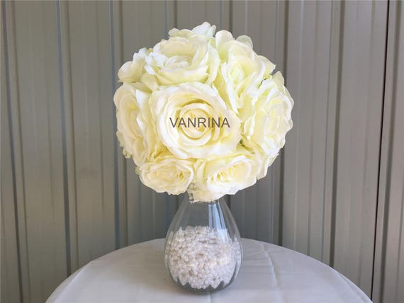 Silk Flower Ball Ivory Rose Ball For Wedding Centerpieces Etsy