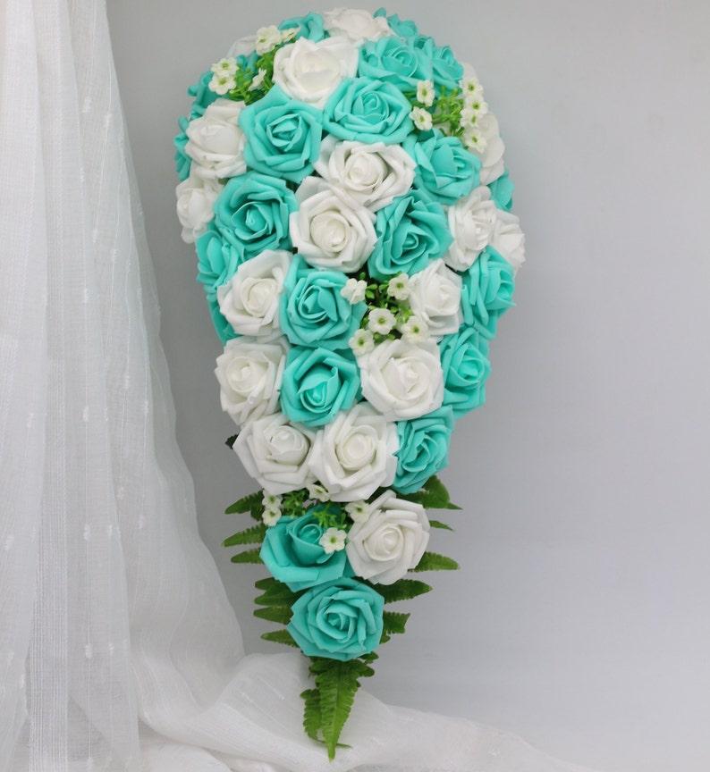 Turquoise Bridal Bouquet Cascading White Wedding Bouquet Turquoise Flowers Bridal Bouquet Silk Ribbon Fake Flower Bouquets Dj 21