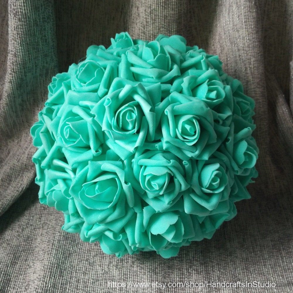 Flower kissing ball aqua blue pomanders foam rose flower ball etsy image 0 image 1 izmirmasajfo