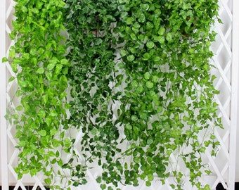 2 Bundle Artificial Ivy Leaf Garland Hanging Plants Vine Fake Foliage Flowers For Wedding Reception Decoration 47 inches MGT-023