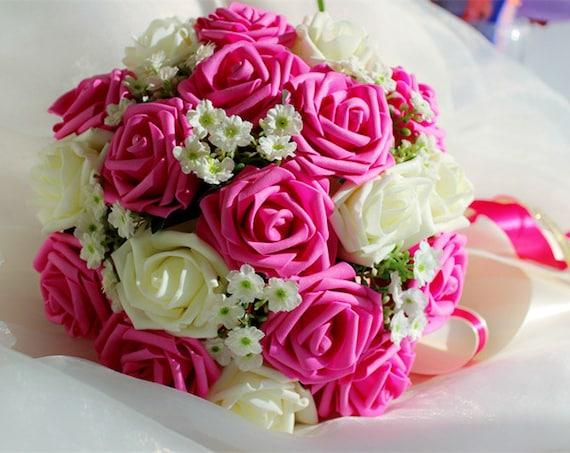 Bouquet Sposa Fucsia.Bouquet Da Sposa Bouquet Da Sposa Avorio Fucsia Fucsia Etsy
