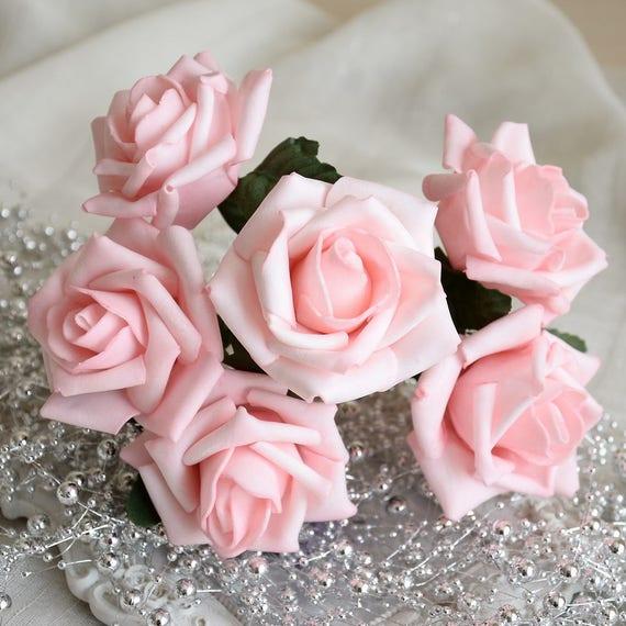 Leichte Rosa Rose Blumen Hochzeit Anordnung Blumen Künstlichen   Etsy