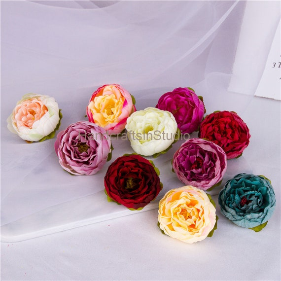Artificial flower heads wholesale silk peony heads 6cm 50set etsy image 0 mightylinksfo