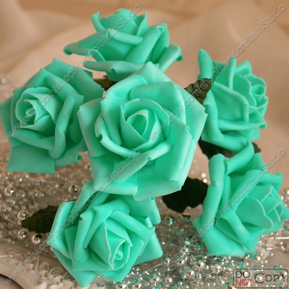 Spa blue flowers fake roses pool blue wedding flowers for etsy zoom izmirmasajfo