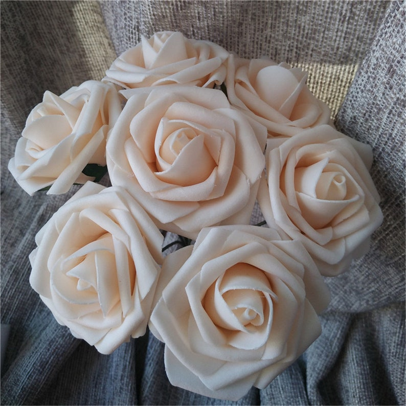 1d712088318 Blush Flowers Foam Roses Fake Flowers in Bulk Artificial Spring Wedding  Flowers Wholesale 100 Roses For Wedding Bouquet Centerpieces LNPE050