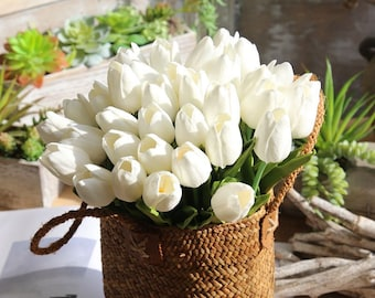 PU Real Touch Tulips Cream White Tulip 30 Flowers For Wedding Flower Supplies Bridal Bouquet Flowers MW08081-1