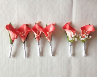 Grooms Coral Boutonnière Calla Lily Wedding Boutonnière For Groomsmen Latex Calla Lily Fake Flower Boutonnière Corsages Groom Flowers XH-A05