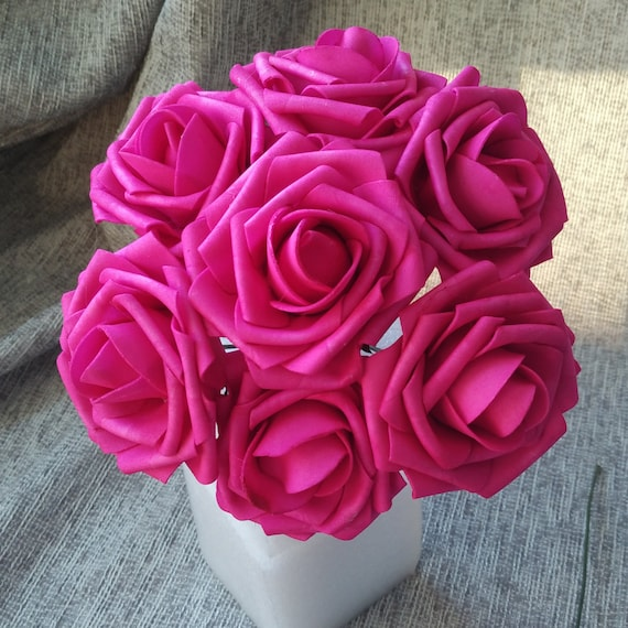 Hot Pink Wedding Flowers Dark Pink Fuschia Rose Foam Flowers | Etsy