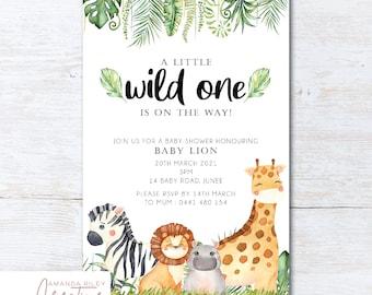 Safari/Jungle Animals Baby Shower Invitation - DIGITAL FILE