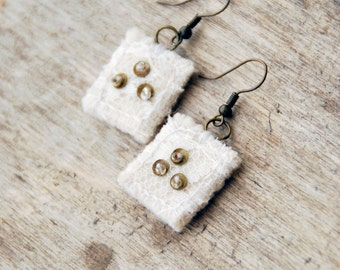 Handmade textile earrings with lace. Textile white earrings with beads and lace.