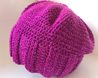 3280ef19774 Girls Crochet Slouch Beanie Hat