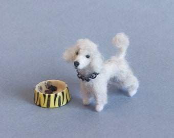 White poodle needle felted dog - dollhouse miniatures - 2 Inch-1:12 scale - Ooak - Wool sculpture - Collectible artist animals