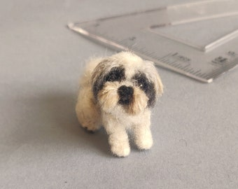 Ready to ship-Needle Felted miniature Dog-Wool animal sculpture-Collectible artist animals-Shih Tzu short haircut dollhouse 1 inch.