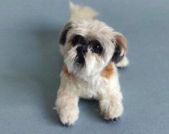 CUSTOM ORDER FOR Needle felted pet portrait Shih Tzu dog - Wool animal sculpture- eco friendly art-Collectible artist animals