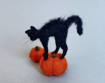 CUSTOM Order Needle felted- Cat with pumpkin - Ooak decoration for Halloween-dollhouse kitten-display pumkins, needle felted decoration